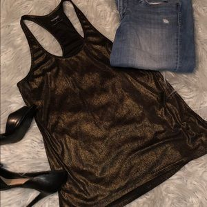 Express metallic racerback tank top
